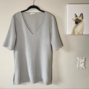 Equipment Femme Gray Silk Top